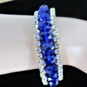 Wrap-Around Rhinestone Bracelet Clear & Blue